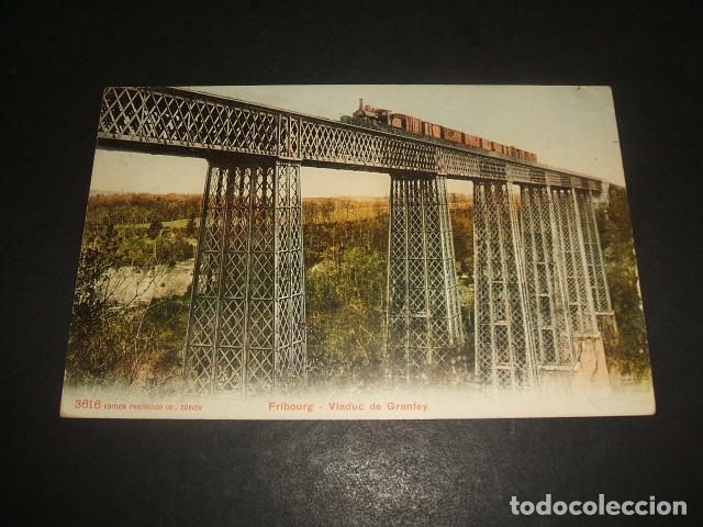 FRIBURGO VIADUCTO Y TREN FERROCARRIL POSTAL (Postales - Postales Temáticas - Trenes y Tranvías)