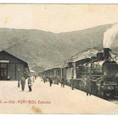 Postales: PORT-BOU - ATV 1713 - ESTACIÓN FERROCARRIL (CON SELLO Y CIRCULADA EN 1908). Lote 132379014