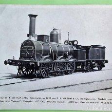 Postales: LOCOMOTORA 030-2013 (EX-MZA 246) CONSTRUÍDA EN 1857 POR E.B. WILSON & Cº, DE INGLATERRA. MODELO CONO. Lote 133509994