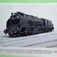 Postales: LOCOMOTORA 151-3101 CONSTRUÍDA EN 1942 PARA RENFE, POR LA MAQUINISTA TERRESTRE Y MARÍTIMA. SE CONOCE. Lote 133510002