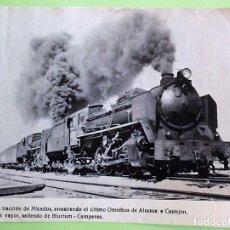 Postales: LOCOMOTORA DE DOBLE TRACCIÓN DE MICADOS, ARRASTRANDO EL ÚLTIMO OMNIBUS DE ALSASUA A CASTEJÓN. SOPORT. Lote 133510041