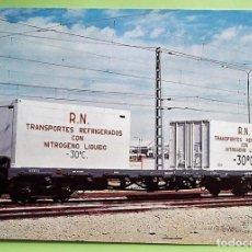 Postales: CONTENEDOR PARA TRANSPORTES REFRIGERADOS, CON NITRÓGENO LÍQUIDO. COLECCIÓN RENFE. SERIE M-12. NUEVA.. Lote 133510057