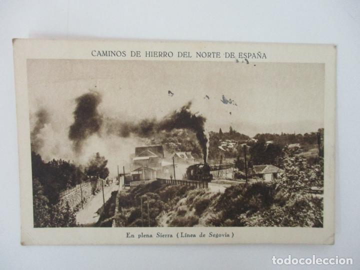 TARJETA POSTAL - CAMINOS DE HIERRO DEL NORTE DE ESPAÑA - EN PLENA SIERRA, LINEA DE SEGOVIA (Postales - Postales Temáticas - Trenes y Tranvías)