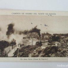 Postales: TARJETA POSTAL - CAMINOS DE HIERRO DEL NORTE DE ESPAÑA - EN PLENA SIERRA, LINEA DE SEGOVIA. Lote 135290078