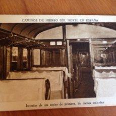 Postales: TARJETA POSTAL - INTERIOR DE UN COCHE DE PRIMERA, DE TRENES TRANVÍAS. Lote 138645220