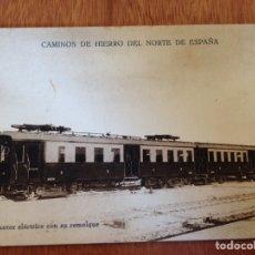 Postales: AUTOMOTOR ELÉCTRICO CON SU REMOLQUE. Lote 138824580