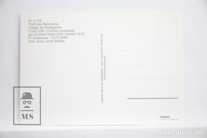 Postales: Postal de Tranvía - Nº 4128 - Tranvías de Barcelona Coche 239 - Pl. Cataluña 1949 - Colacao- Eurofer - Foto 2 - 163308634
