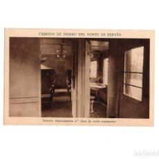 Postales: CAMINOS DE HIERRO DEL NORTE DE ESPAÑA. INTERIOR DEPARTAMENTO 2.ª CLASE DE COCHE AUTOMOTOR. Lote 153883870