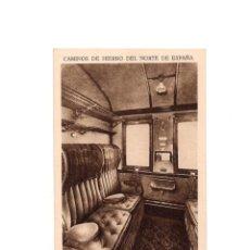 Postales: CAMINOS DE HIERRO DEL NORTE DE ESPAÑA. INTERIOR DE UN DEPARTAMENTO DE 1.ª CLASE . Lote 153884058