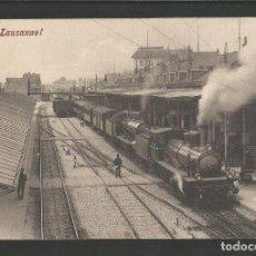 Postales: FERROCARRIL-LAUSANNE-SUIZA-TREN-POSTAL ANTIGUA-(57.654). Lote 154993218