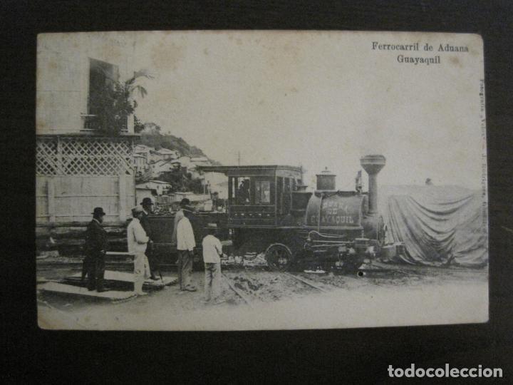 ADUANA DE GUAYAQUIL-FERROCARRIL-REVERSO SIN DIVIDIR-POSTAL ANTIGUA-VER FOTOS-(58.441) (Postales - Postales Temáticas - Trenes y Tranvías)