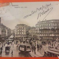Postales: 1906 MADRID PUERTA DEL SOL PARADA TRANVÍAS. Lote 161280925