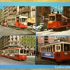 Postales: LOTE 4 POSTALES DE TRANVIAS DE BARCELONA (AÑOS 60) LINEAS 54, 47 Y 55. Lote 139794942