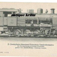 Postales: ANTIGUA POSTAL PUBLICITARIA LOCOMOTORAS ALEMANAS HANOMAG PK 1507. Lote 166769194