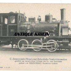 Postales: ANTIGUA POSTAL PUBLICITARIA LOCOMOTORAS ALEMANAS HANOMAG PK 1502. Lote 166778170