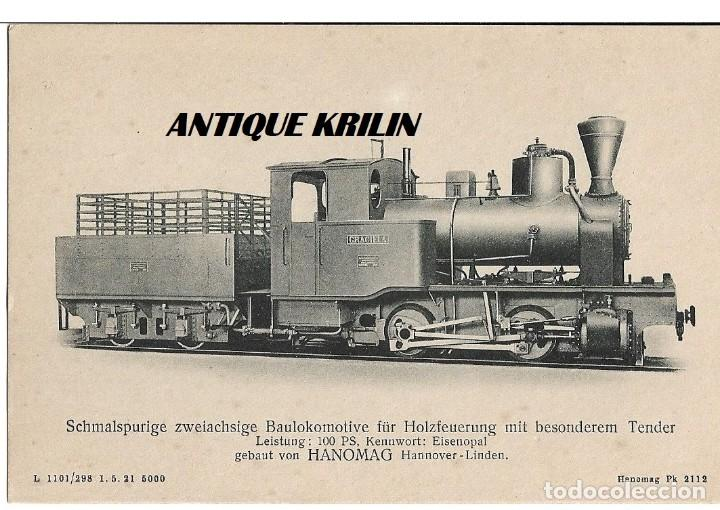 ANTIGUA POSTAL PUBLICITARIA LOCOMOTORAS ALEMANAS HANOMAG PK 2112 (Postales - Postales Temáticas - Trenes y Tranvías)