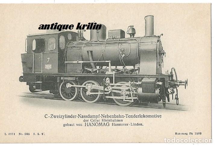 ANTIGUA POSTAL PUBLICITARIA LOCOMOTORAS ALEMANAS HANOMAG PK 1503 (Postales - Postales Temáticas - Trenes y Tranvías)