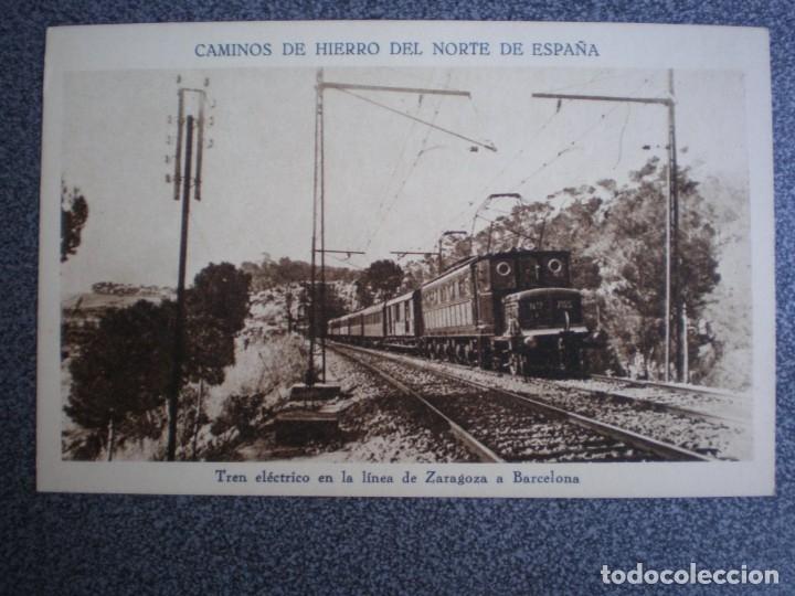 CAMINOS DE HIERRO DEL NORTE DE ESPAÑA - TREN ELÉCTRICO LINEA ZARAGOZA POSTAL ANTIGUA (Postales - Postales Temáticas - Trenes y Tranvías)
