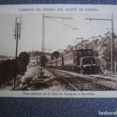 Postales: CAMINOS DE HIERRO DEL NORTE DE ESPAÑA - TREN ELÉCTRICO LINEA ZARAGOZA POSTAL ANTIGUA. Lote 174545254