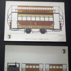 Postales: 56 POSTALES COLECCIÓN COMPLETA - TRANSPORTES DE BARCELONA (1872 / 1972). Lote 176852528