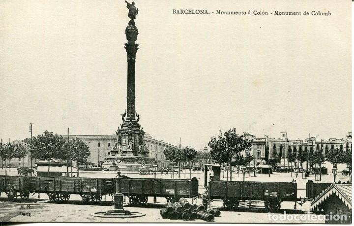 BARCELONA-MONUMENTO A COLÓN-FERROCARRIL-SOC. ATRACCIÓN DE FORASTEROS- M.N. PARIS- RARA (Postales - Postales Temáticas - Trenes y Tranvías)