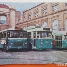 Postales: PEGASO SEIDA TROLEBUS Y TRANVIA - TRANVIAS DE BARCELONA EN TALLERES SARRIA AÑO 1967. Lote 180256718