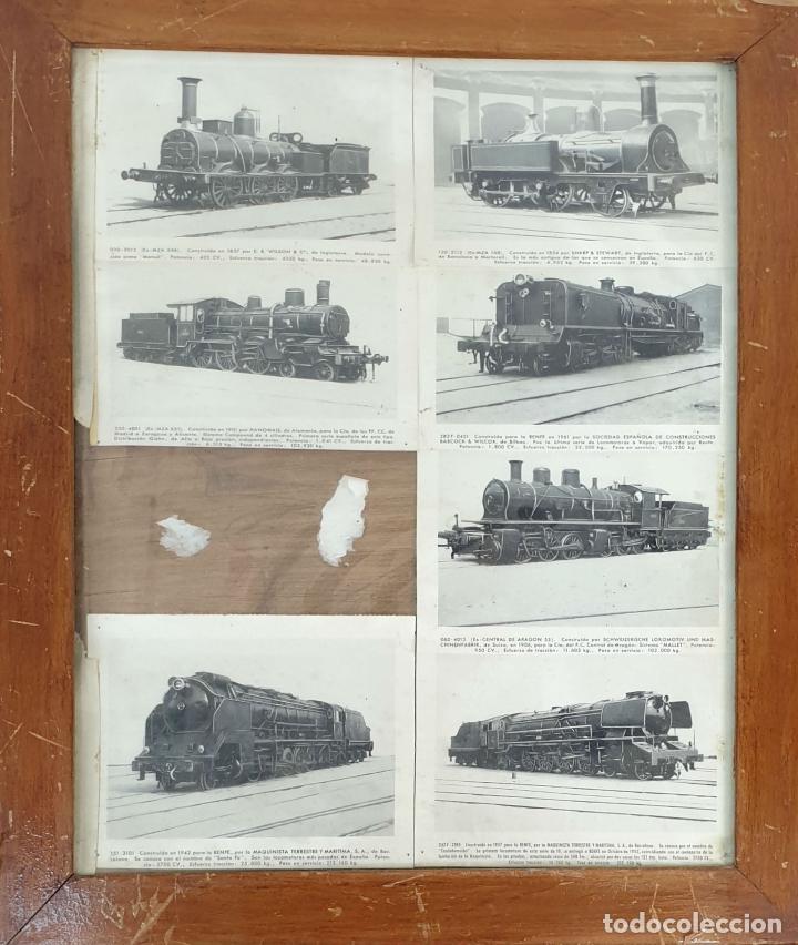 COMPOSICION DE 7 POSTALES FERROVIARIAS. DIFERENTES LOCOMOTORAS. SIGLO XX. (Postales - Postales Temáticas - Trenes y Tranvías)