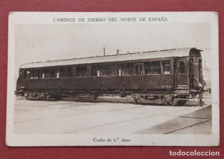 TARJETA POSTAL CAMINOS DE HIERRO DEL NORTE DE ESPAÑA. COCHE DE 1º CLASE (Postales - Postales Temáticas - Trenes y Tranvías)