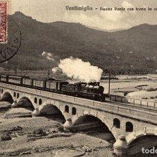 Postales: VENTIMIGLIA NUOVO PONTE CON TRENO. Lote 183346865
