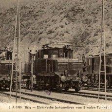 Postales: BRIG - ELEKTRISCHE LOKOMOTIVEN - SIMPLON-TUNNEL - TRAIN. Lote 183346897