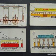 Postales: 4 POSTALES DE TRANVÍAS DE BARCELONA , SIN CIRCULAR, VER COMENTARIOS . Lote 190005943