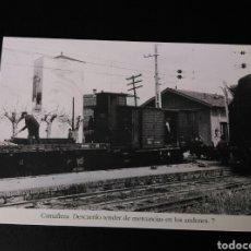 Postales: HISTORIA FERROCARRILES GERONA CAMALLERA DESCARRILO TREN DE MERCANCÍAS EN LOS ANDENES 7. Lote 191352236