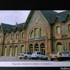 Postales: HISTORIA FERROCARRILES GERONA PUIGCERDÀ FACHADA DE LA ENTRADA DE LA ESTACIÓN. Lote 191355172