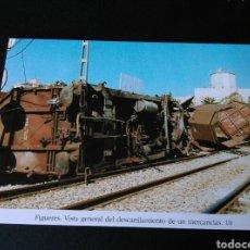 Postales: HISTORIA FERROCARRILES GERONA FIGUERES VISTA GENERAL DEL DESCARRILAMIENTO DE UN MERCANCÍAS TREN 10. Lote 191361515