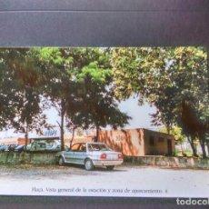 Postales: HISTORIA FERROCARRILES GERONA FLAÇÀ FLASSA VISTA GENERAL DE LA ESTACIÓN Y ZONA DE APARCAMIENTO 4. Lote 192360550