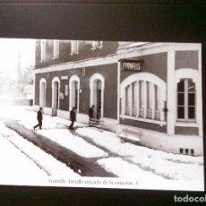 Postales: HISTORIA FERROCARRILES GERONA FORNELLS DE LA SELVA DETALLE NEVADO DE LA ESTACIÓN 3. Lote 192360970