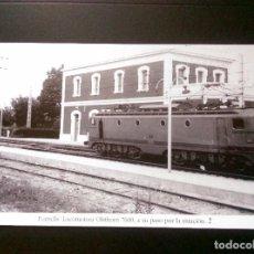 Postales: HISTORIA FERROCARRILES GERONA FORNELLS LOCOMOTORA OLSTHOM 7600 Nº2 A SU PASO POR LA ESTACION 2. Lote 192361005