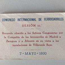 Postales: 1930 CONGRESO INTERNACIONAL DE FERROCARRILES - SESION 11ª - BLOC 20 POSTALES - RECUERDO CONGRESO. Lote 193611773