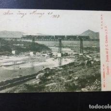 Postales: COSQUIN ARGENTINA PUENTE DEL FERROCARRIL DE CORDOBA Y N. O. TREN EN MARCHA. Lote 196301191