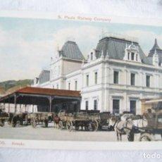Postales: PRECIOSA SANTOS BRASIL CARROS VACAS ESTACION TREN S43. Lote 198112482