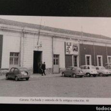 Postales: GIRONA FACHADA Y ENTRADA DE LA ANTIGUA ESTACION 40 SEAT 600. Lote 200746281