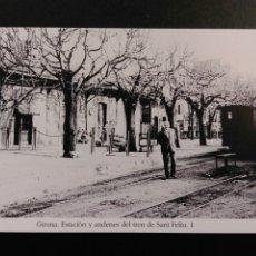 Postales: GIRONA ESTACIO Y ANDENES DEL TREN DE SANT FELIU 1. Lote 200747492