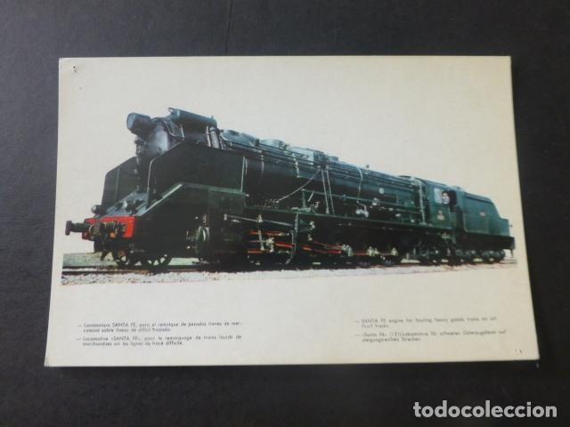LOCOMOTORA SANTA FE RED NACIONAL DE LOS FERROCARRILES ESPAÑOLES POSTAL 1961 (Postales - Postales Temáticas - Trenes y Tranvías)