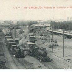 Postales: BARCELONA-FERROCARRIL ANDENES DE LA ESTACIÓN DE M.Z.A. - A.T.V. Nº 151-. Lote 204527278