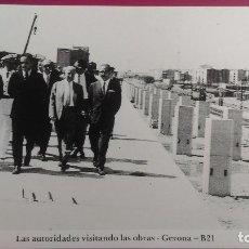 Postales: LAS AUTORIDADES VISITANDO LAS OBRAS DE LA ESTACION NUEVA CONSTRUCCION TREN GERONA GIRONA. Lote 207134608