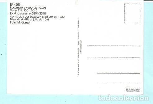 Postales: POSTAL DE LOCOMOTORA MIRANDA DE EBRO1966 Nº 4259 EDICION EUROFER AMIGOS FERROCARRIL SIN CIRCULADA - Foto 2 - 207365832