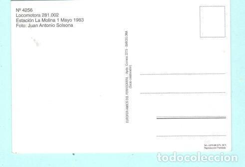 Postales: POSTAL DE LOCOMOTORA LA MOLINA 1983 Nº 4259 EDICION EUROFER AMIGOS FERROCARRIL SIN CIRCULADA - Foto 2 - 207365958
