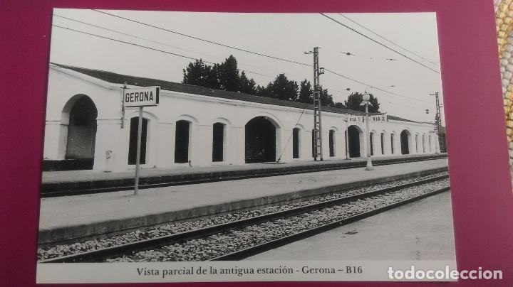 VISTA PARCIAL DE ANTIGUA ESTACION TREN GERONA GIRONA VIA 1 VIA 2 (Postales - Postales Temáticas - Trenes y Tranvías)