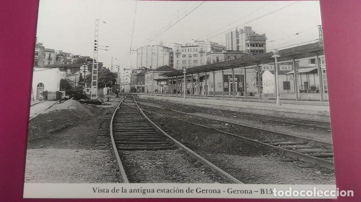 VISTA DE LA ANTIGUA ESTACION TREN GERONA GIRONA VIA 1 VIA 2 (Postales - Postales Temáticas - Trenes y Tranvías)