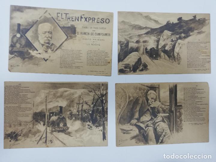Postales: EL TREN EXPRESO. SERIE II. COMPLETA. HAUSER Y MENET. POEMA EN TRES CANTOS. D. RAMON DE CAMPOAMOR - Foto 2 - 207925167